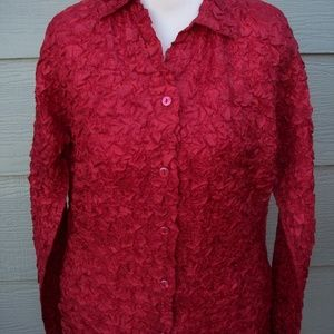 Coldwater Creek Button Shirt Tunic Red Puckered